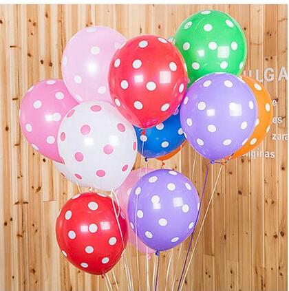 100pcs/lot 12 inch Latex Polka Dot Balloons Mixed Color Helium Balloons Party Decor(China (Mainland))