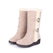 Botas de nieve de invierno elegante estilo de la señora más el tamaño EUR 40 41 42 43 44 45 46 47 48 49 50 51 52 slip-on de diseño de la felpa interna(China (Mainland))