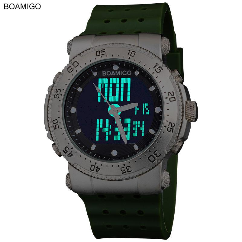 2015 New  BOAMIGO brand  sports  army navy military watches 3 Time zone Quartz Analog Digital LED  rubber band  wristwatches<br><br>Aliexpress