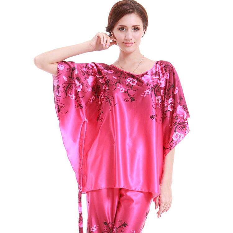 Free Shipping Brand Women Silk Pajamas Sexy Silk Women Nighties Set New 2014 Brand Women Sleep Wear Dress Set WD1571(China (Mainland))