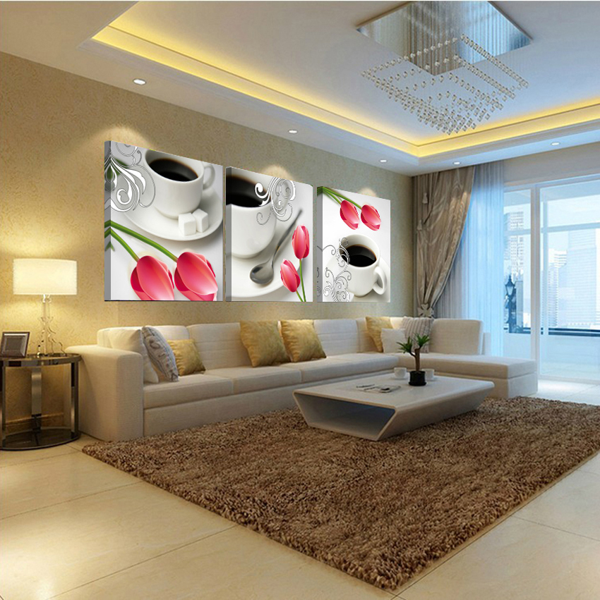 Best present modern coffee tulip fashion modern canvas art printing high-definition pictures canvas painting pictures(China (Mainland))