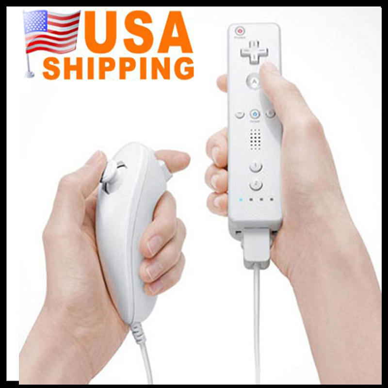 US Stock To USA Free Shipping Game Handle for Wii Controller Combo + Wireless Remote Nunchuk Controller for Nintendo Wii(China (Mainland))
