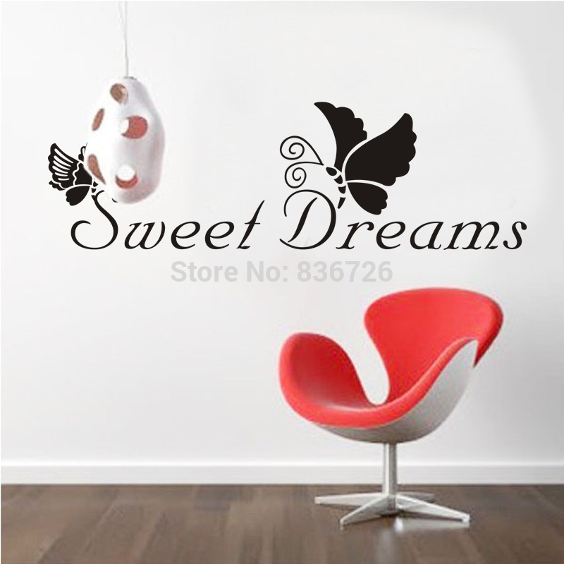 Free Shipping Newly 2016 Sweet Dream Butterfly Wall Stickers Home Decor Bedroom Accessories Cartoon Posters(China (Mainland))