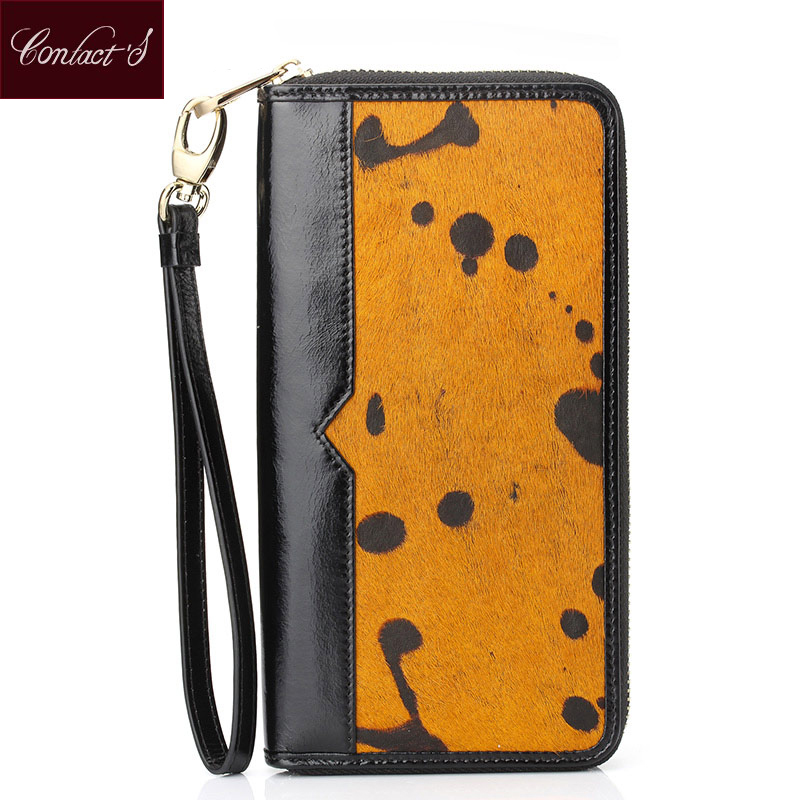 2016 New Arrival Women Clutch Bag Lady's Horse Hair Clutch Wallet Wristlet Zipper Around Wallets Cell Phone Credit Card Purse(China (Mainland))