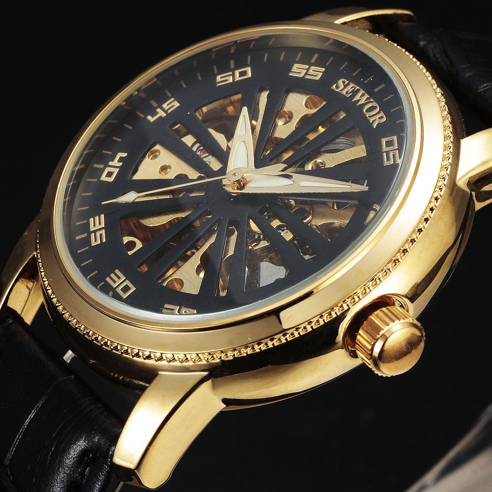 Classic SEWOR Hollow Mechanical Skeleton Men Casual Designer Golden Case Men Automatic Mechanical Leather Band Sport Wrist watch<br><br>Aliexpress