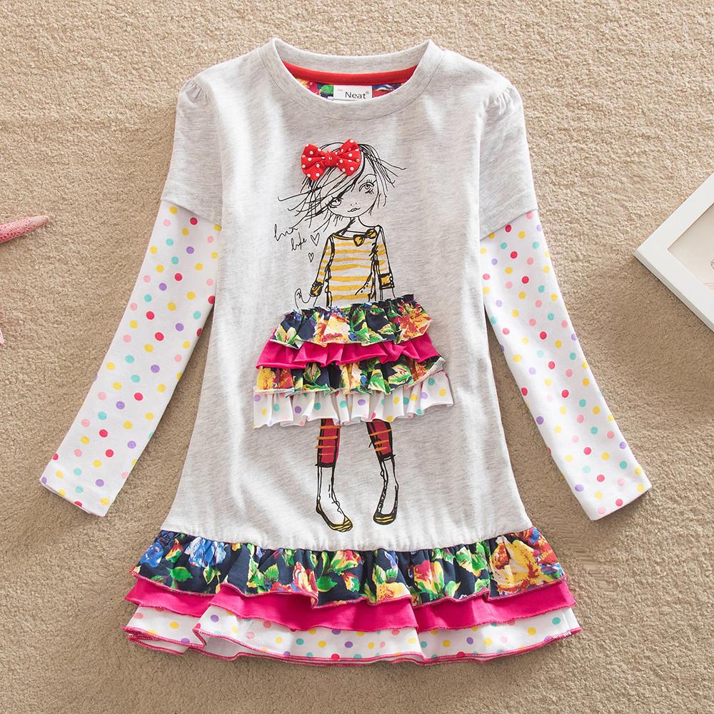 Retail!Neat baby&kids spring 2015 fashion My Little Pony printing 100% cotton round neck long sleeve lori girl dress LD668#(China (Mainland))