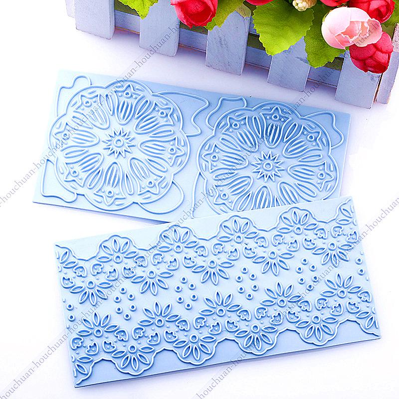 2015 New&High Quality Cake Lace Flower Border Trim Baking Fondant Pastry Decorating Cake Mold Kitchen DIY 2Pcs/Set(China (Mainland))