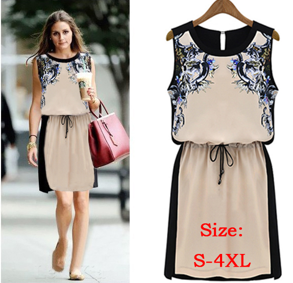 Vestidos Chiffon Dress Summer Vintage Women's clothing Pinched Waist Printed Dress Women Sleeveless Casual Dresses S-XL WQW1297(China (Mainland))