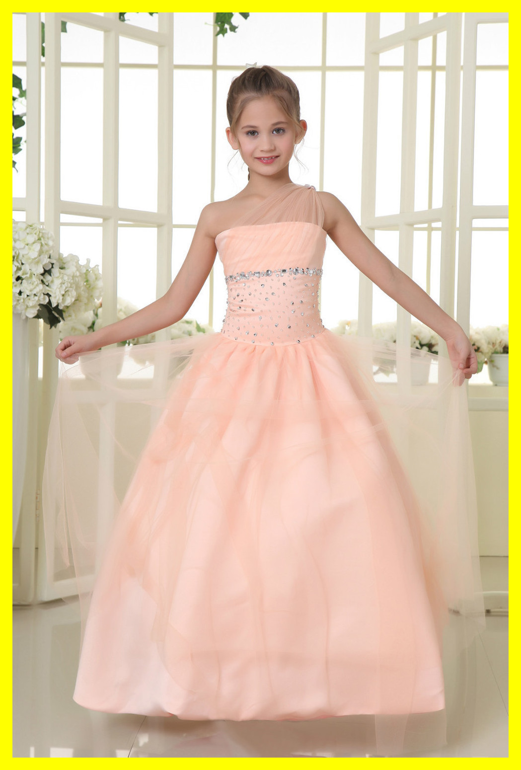 Silver Flower Girl Dress Dresses Canada Tulle Girls Weddings Big Scalloped One Shoulder Sleeveless Beading A-Line 2015 In Stock(China (Mainland))