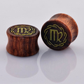 Constellation Virgo Wood Double Flared Saddle Tunnels Plugs Gauges Ear Stretcher Expander Ear Piercing Jewelry 1