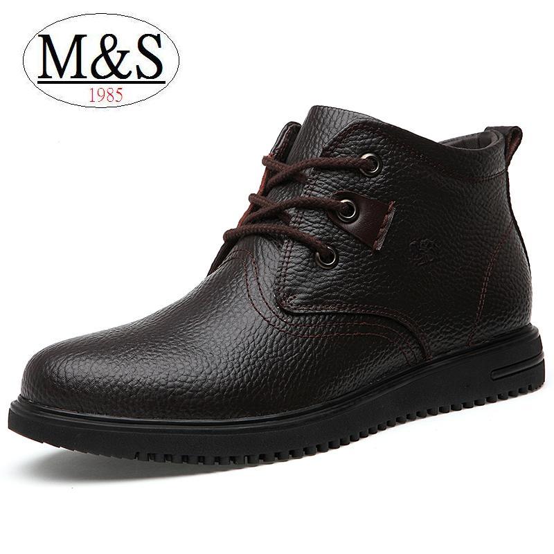 EUR size 38-46 Martin boots soft genuine leather boots men winter boots warm plush flat dress shoes ankle boots platform heels