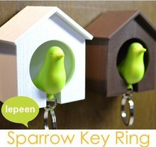 Hot selling Sparrow Bird House Nest Whistle Key Holder Chain Ring Keychain Holder Boxed(China (Mainland))