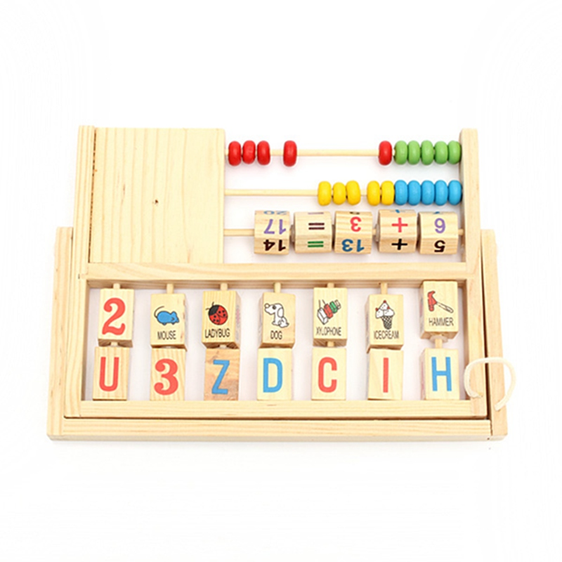 Newest !! Top Selling Wooden Educational Computing Rack Multifunction Flap Childrens Early Educational Fancy Toys(China (Mainland))
