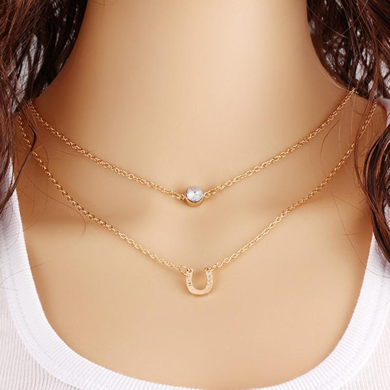 new fashion small accessories necklace horseshoe pendants short design two layer chain women gold necklaces(China (Mainland))