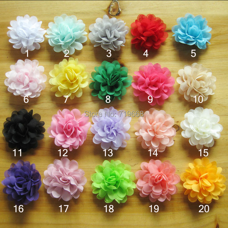 Hot Sale!40pcs/lot 20colors 7.5cm satin chiffon flowers for baby girls headbands hairband hair ornaments children hair accessory(China (Mainland))