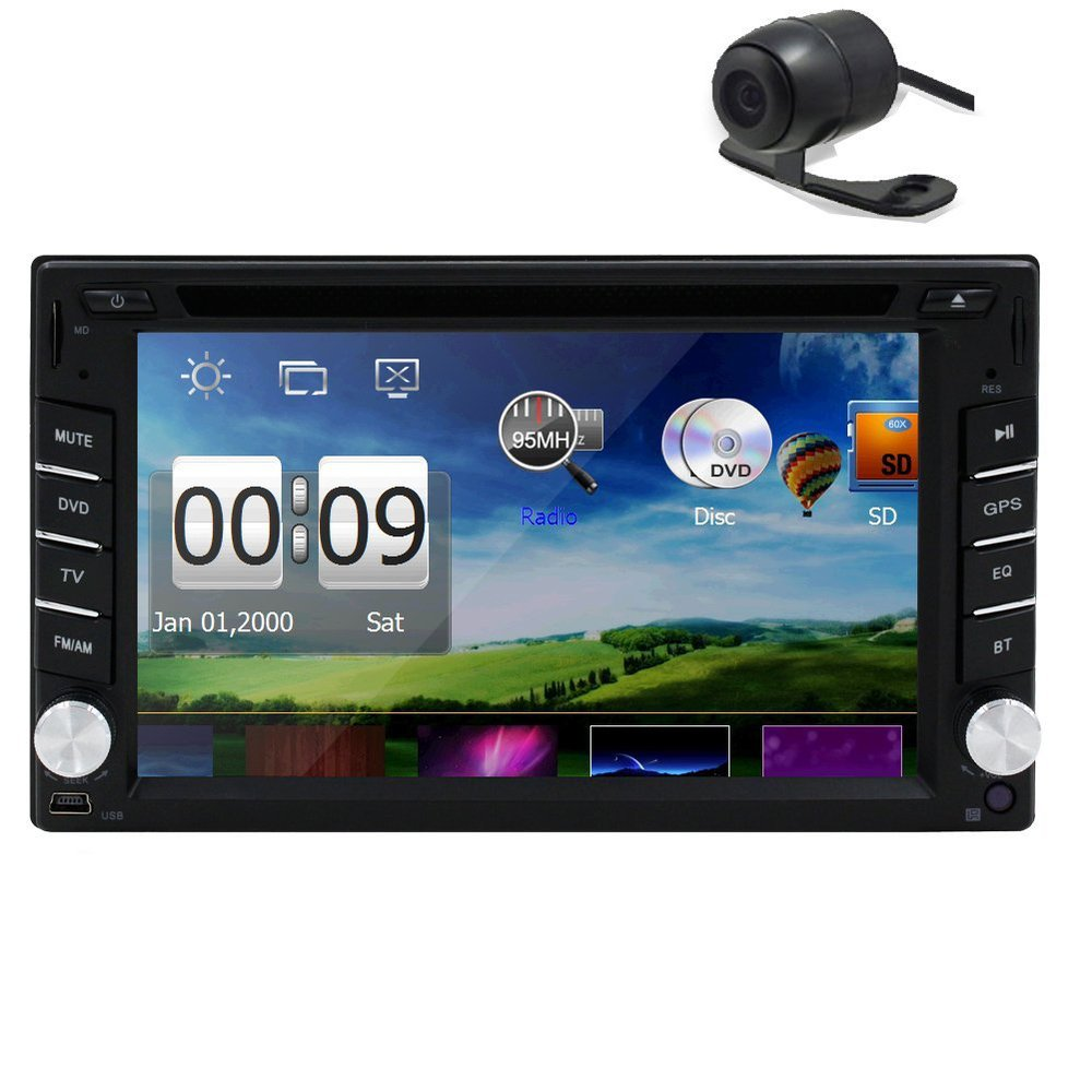 Back Camera!PUPUG Window Ce 6.0 Os Black 6.2 Inch Touch Screen in Dash 2 Din GPS Navigation Car Dvd Player Stereo 8GB Map Card(China (Mainland))