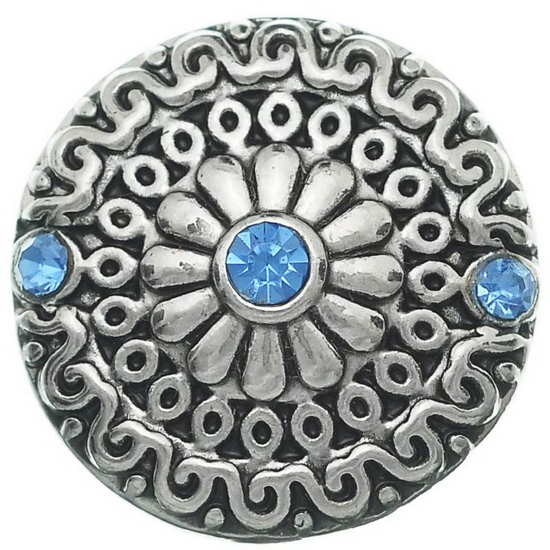 1PC Snap Button Fit Snap Bracelets Blue Rhinestone Daisy Carve 20mm For Jewelry Diy Making VK01078(China (Mainland))