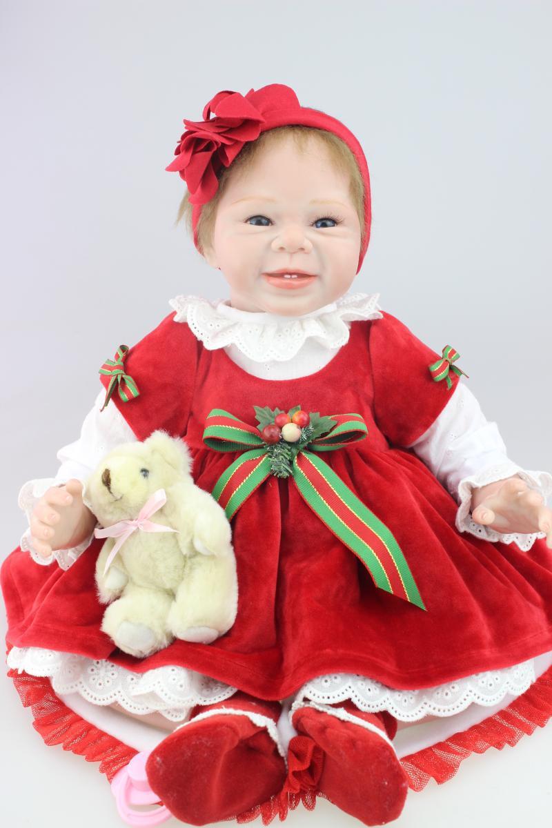 New 55cm silicone reborn baby dolls Christmas dress baby alive bonecas hiqh quality children toys birthday gift<br><br>Aliexpress