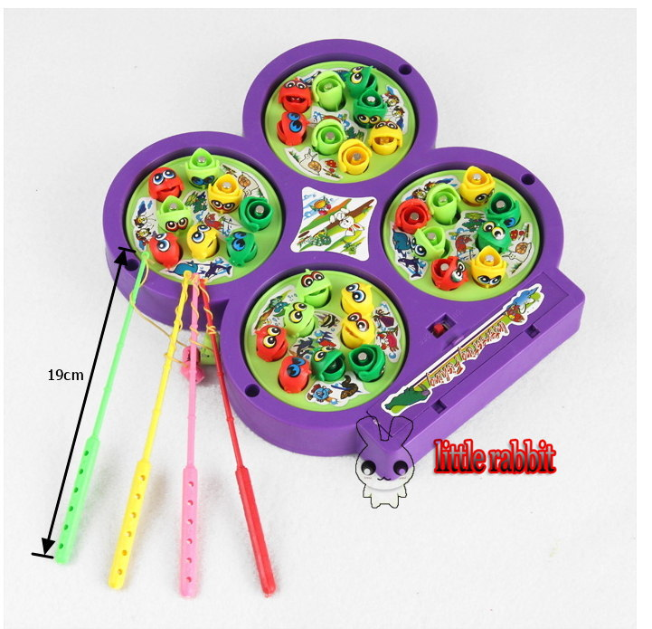Colorful Magnetic Fishing rotating Game child Toy, Baby Educational children musical Toys play set(China (Mainland))