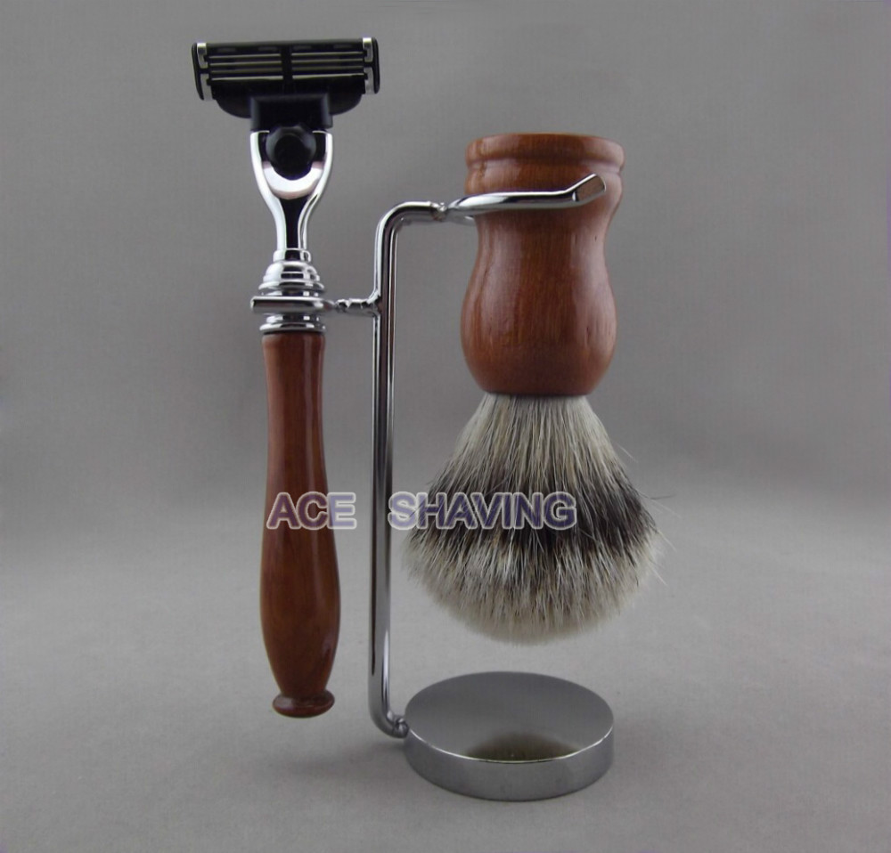 Merbau Red Wood Handle Mh3 Razor Silvertip Badger Hair Shaving Brush Metal Stand Set