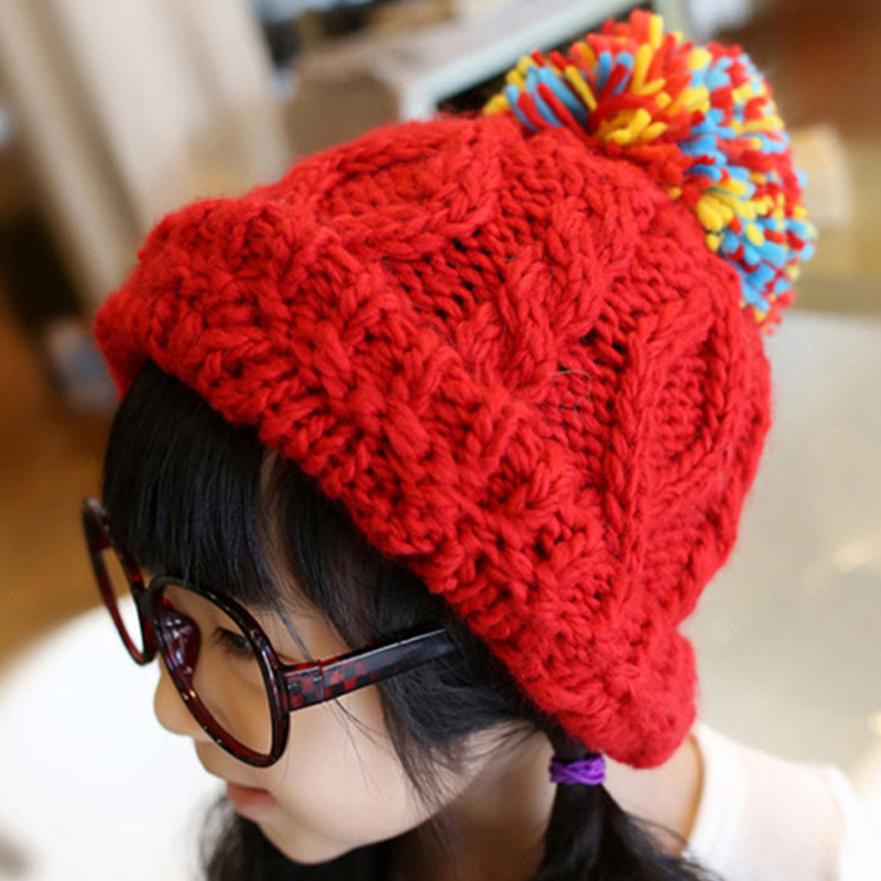2015 Hot Winter Hat Fashion Brands Baby Girls Big Ball Wool Cute Hat Beanies Thick Warm Knitted Hat For Children(China (Mainland))