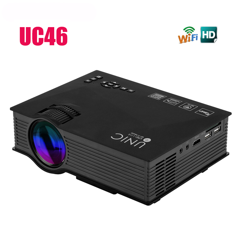 New UC46 Portable Mini LED Projector support 1080P Full HD 3D red and blue 3D effects are WIFI connected home cinema projector(China (Mainland))