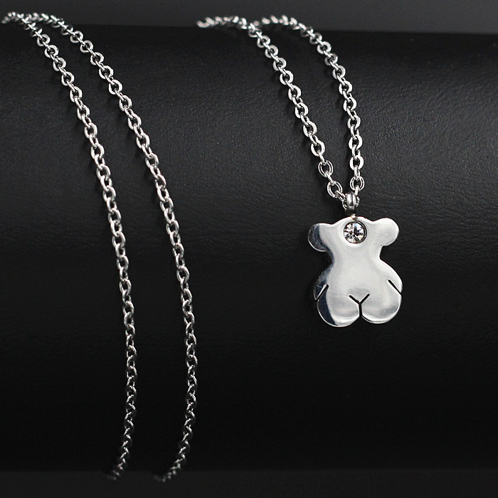 Fashion Bear Pendants Necklaces Accessories With Crystal In The Middle,Hand polished Stainless Steel,Free Shipping(N2009)(China (Mainland))