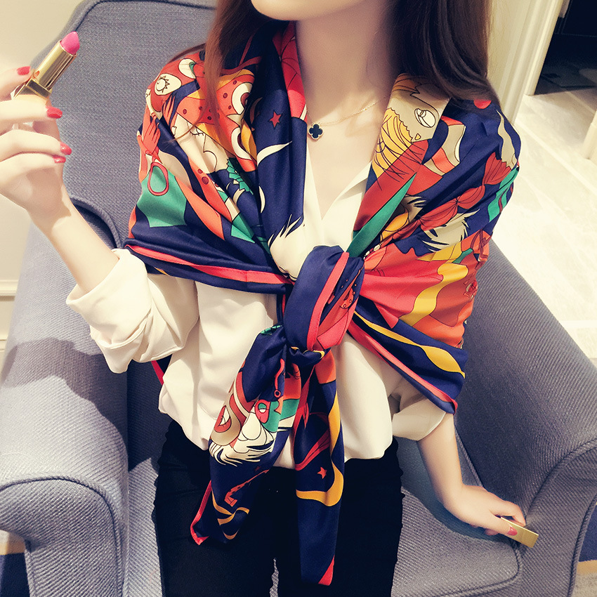 2015 New Cotton Silk Shawl Scarf Fashion Folk Twill Bird Printing Bandana Designer Scarfs Womens - zoe trade co., ltd store