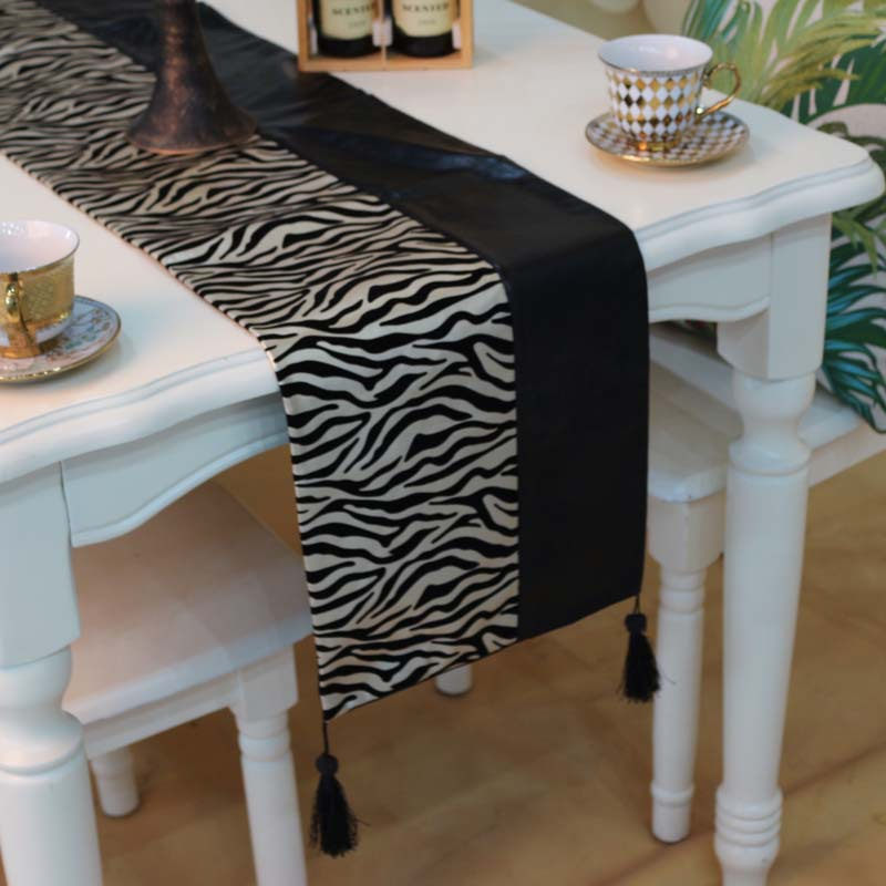 Modern minimalist zebra table runner PU PU Straight stitching solid bed flag tablecloth table runner custom wholesale(China (Mainland))