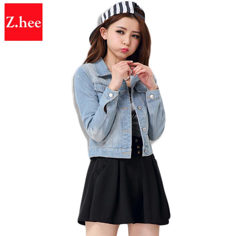 Puls size s-4xl Retro Slim Short jeans women jacket Destroy Jeans denim jacket for women autumn Long sleeve jean jacket women(China (Mainland))