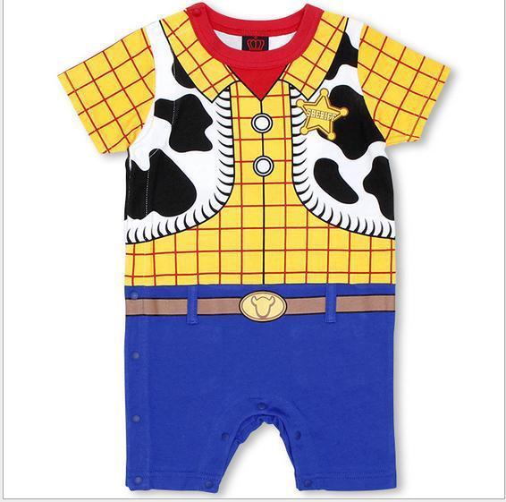 Лето новорожденный детские комбинезоны одежда мальчики девочки комикс короткая рукава коров один штук комбинезон