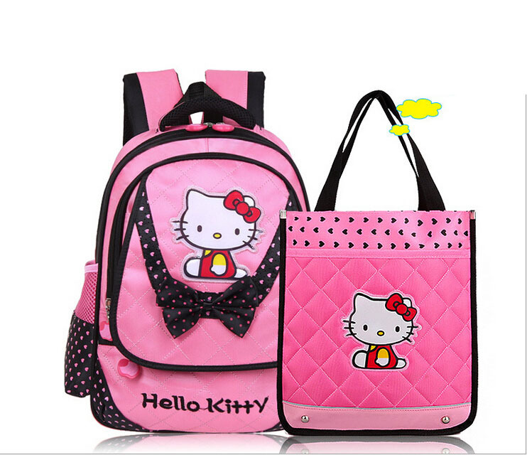 Hello kitty cartoon school bags cute bowknot princess girl backpack female child/kid school backpacks (grade 1~3)(China (Mainland))