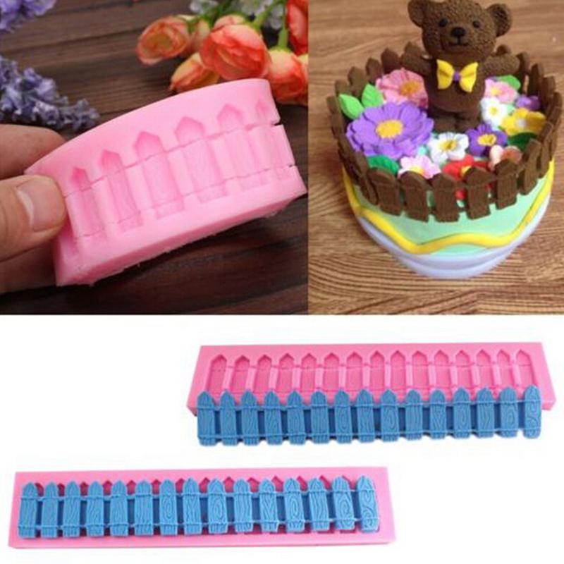 3D Gardens Fence Fondant Cake Mold Silicone Sugar Craft Chocolate Soap Candy Decor Decorating Baking Mould(China (Mainland))