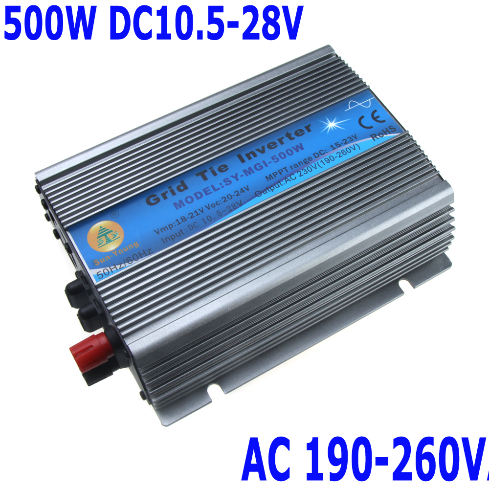 500W Watt Micro Grid Tie Inverter Accept DC 10.5-28V Solar Power Pure Sine Wave AC Output 190-260V Electronic 2014 New(China (Mainland))