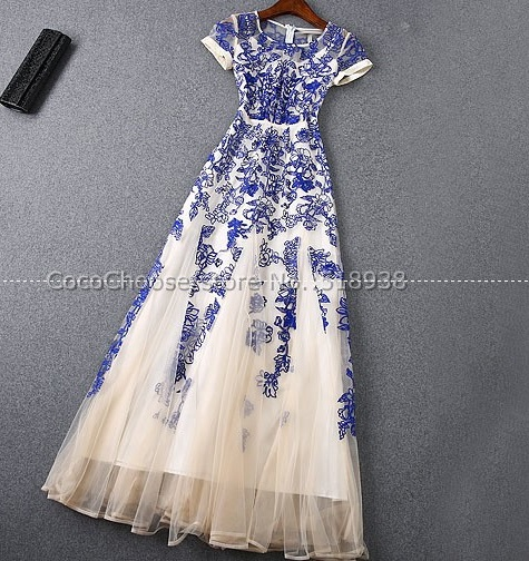 H0655 Europe in the summer of 2015 the new heavy embroidery yarn short sleeved dress  dress