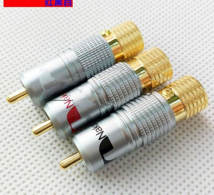 10pcs Gold Plated NAKAMICHI RCA Plug Locking Non solder plug connector(China (Mainland))