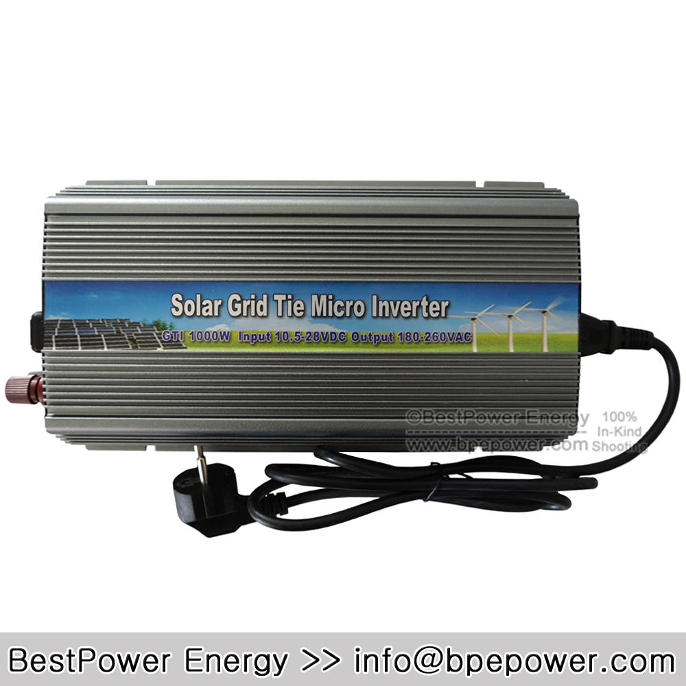 Free Shipping 1000W Grid Tie Micro Inverter Solar DC10.5-28V to AC180~260V Pure Sine Wave Inverters for 1250W 18V PV Module(China (Mainland))