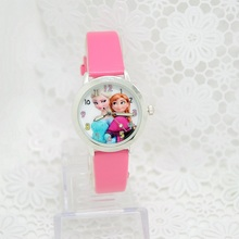 2016 Cartoon Children Watches Princess Elsa Anna Watches Fashion Girl Kids Student Cute Leather Sports Analog Wristwatch relojes