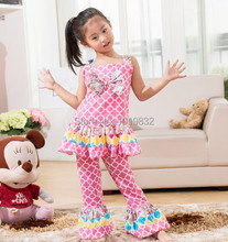 Children Girl Summer Style Clothing Set-Sweety Girl Pink Flower Posh Outfit-Birthday Wear-Kids Clothes(China (Mainland))
