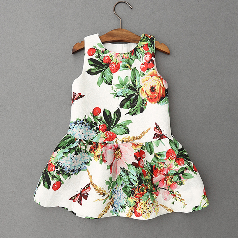 Hot Baby Vest Dress Girls Clothes Strawberry Butterfly Vintage Floral Dresses with Hair Hoop Sleeveless O-Neck Vestidos Infantis(China (Mainland))
