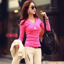 Spring & Autumn Women New Fashion V-Neck Or O-Neck Long Sleeve Bottoming T Shirt Knitted Slim T-shirt Girl 's Tops Tees Camisa(China (Mainland))