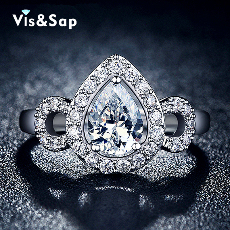 Fashion Water drop ring white gold plate 2 Carat AAA cz Diamond Wedding Rings For Women engagement gifts fashion Jewelry VSR110(China (Mainland))