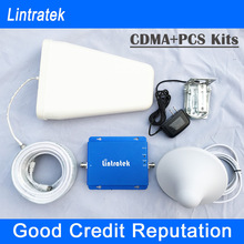 Lintratek! 2014 newest CDMA 850mhz + PCS 1900mhz mobile phone signal repeater amplifier dual band signal booster sets