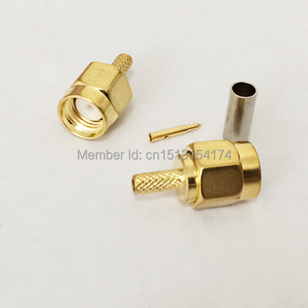 SMA Male Plug RF Coax Connector Crimp RG316,RG174,LMR100 Straight Goldplated NEW wholesale(China (Mainland))