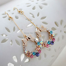 Fashion Style Gold Plated Colorful Crystal Rhinestone Bow Bowknot Dangle Earring Jewelry(China (Mainland))