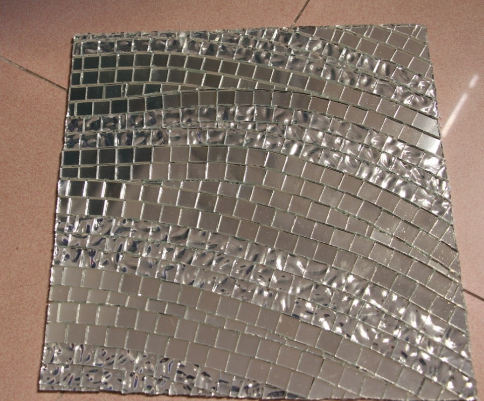 wave mirror glass silver mosaic tile swimming pool