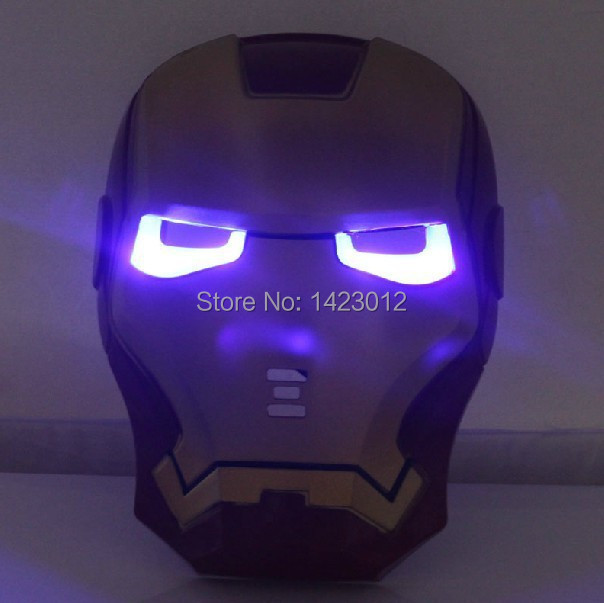 Cool Cosplay Glowing Iron Man Mask w/ Blue LED Eyes Halloween Make up boys Man Mask For Kids Adults Party Halloween Birthday(China (Mainland))
