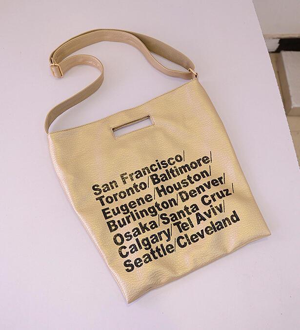 European and American fashion Letters Handbags High Quality Washed Larger Leather Tote Bag Shopping Shoulder Bag bolsa feminina(China (Mainland))
