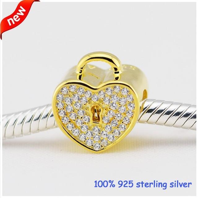 925 чистое серебро ювелирные изделия CZ камни золотой в форме сердца подвески-талисманы Fit европейский браслеты и ожерелье для женщины своими руками ювелирные изделия