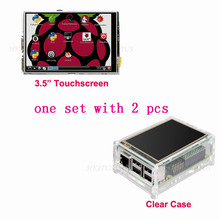 "Wholesale New Original 3.5"" LCD TFT Touch Screen Display for Raspberry Pi 2 Model B Board + Acrylic Case + Stylus Free Shipping(China (Mainland))"
